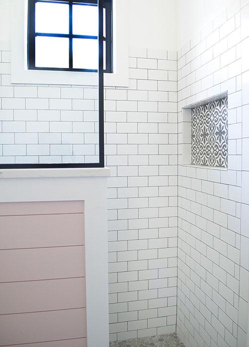 pink shiplap, farmhouse bathroom, shower, subway tile, black frame glass shower, cement tile