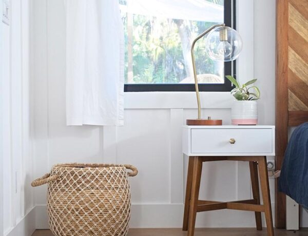 modern farmhouse, mid century modern, nightstand, headboard, basket, curtains, table lamp