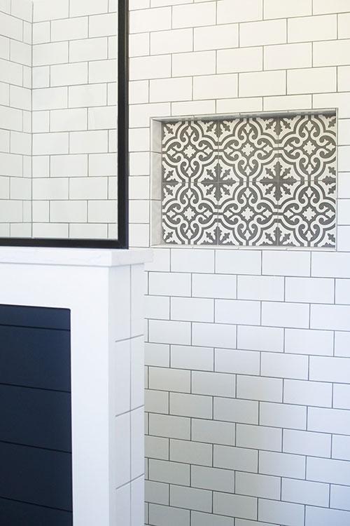 cement tile, farmhouse bathroom shower, black framed shower glass, navy blue shiplap, subway tile