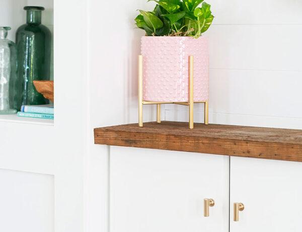 mid century modern planter, blush pink, glam planter, houseplant, farmhouse