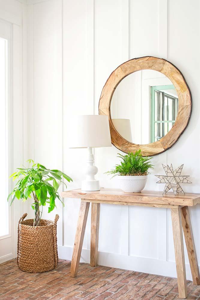 modern farmhouse, foyer, brick floor, board and batten walls, interior design, entry table, money tree, basket