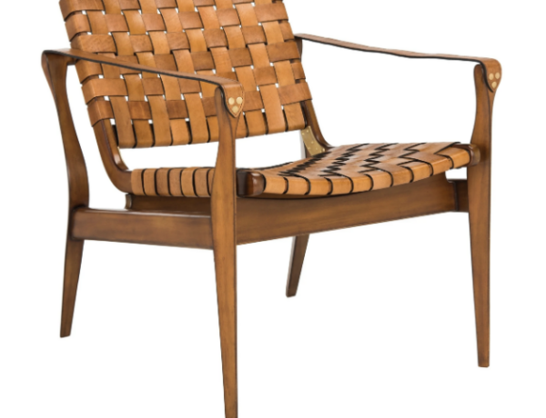 leather woven accent chair overstock