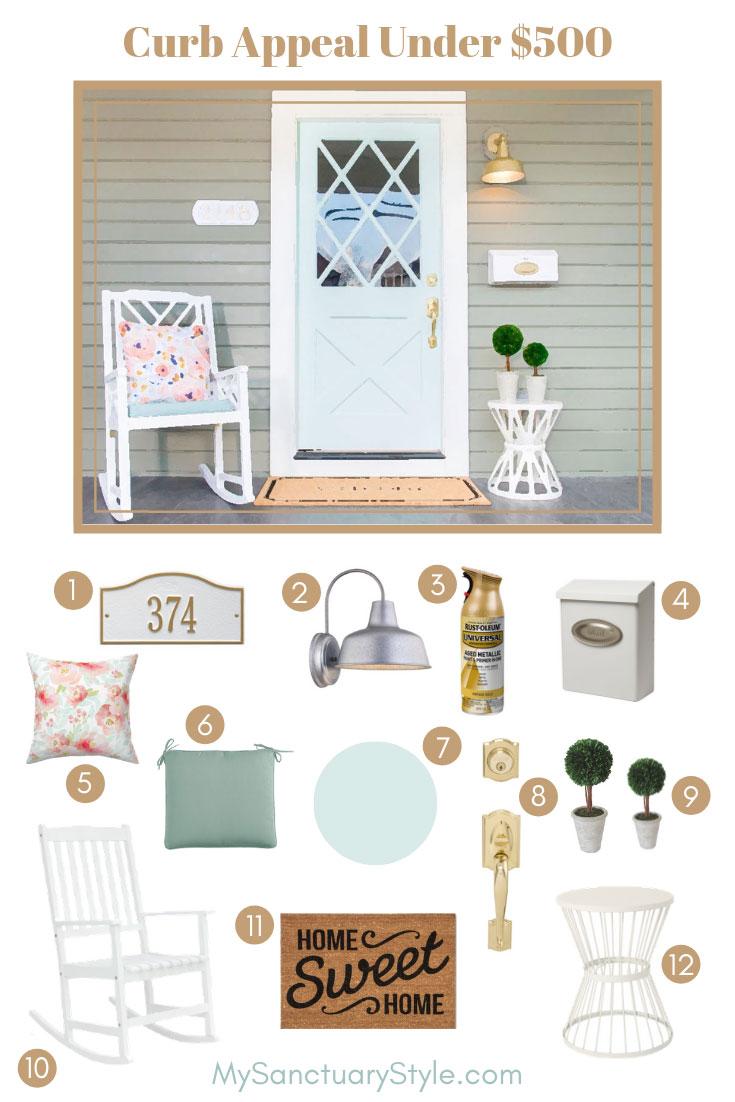 front porch curb appeal rocking chair porch light mint green door doormat