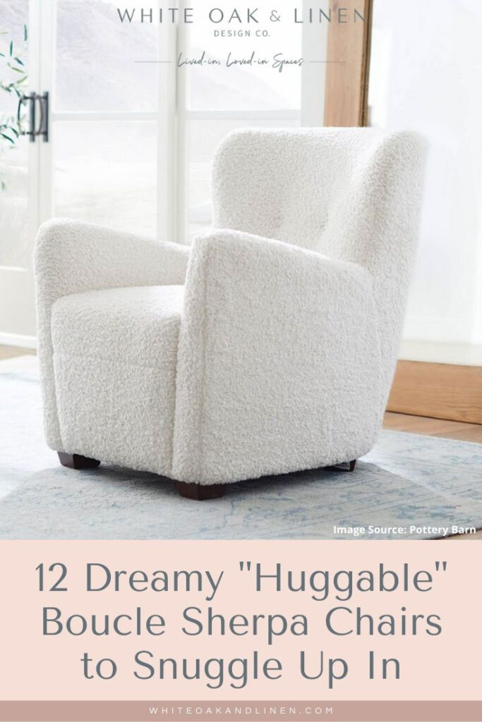 Pottery Barn Hart upholstered chair white boucle sherpa armchair